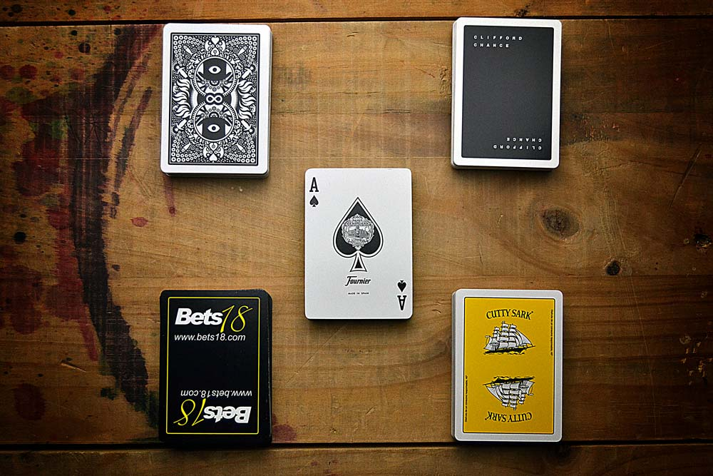 Promotional poker decks with ace, zenithal view